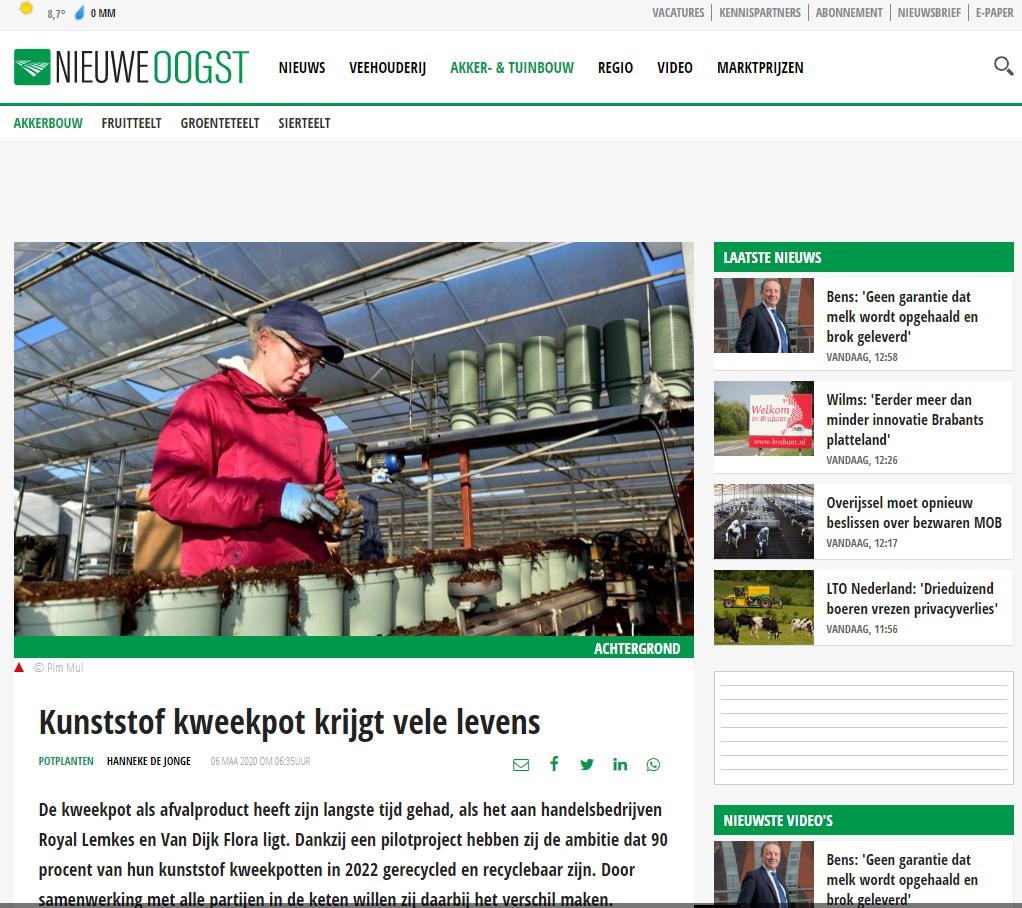 Nieuweoogst: Kunststof kweekpot krijgt vele levens
